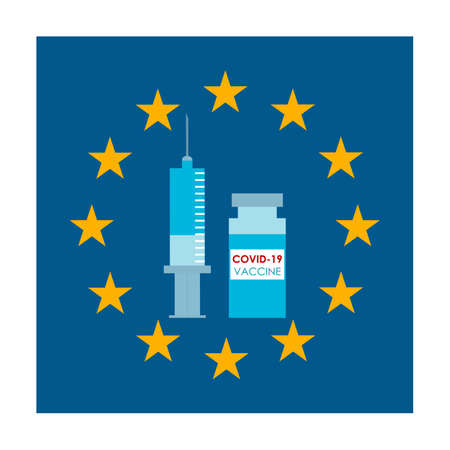 EU flag and syringe with vaccine. concept of mass immunization and vaccination