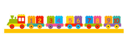 childrens constructor train with trailers with numbers from 1 to 10. the concept of preschool education. Learn to count. vector illustration isolated on white background Illustration