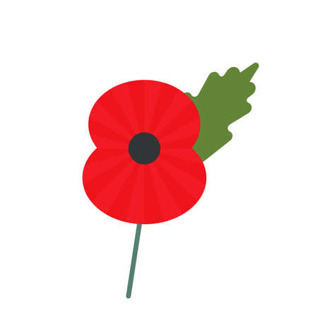 Day of Remembrance for the Victims of World War II. poppy symbol of memory. vector illustration isolated on white background