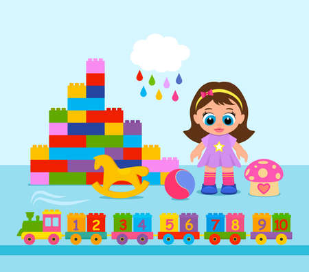 A large set of toys for toddlers. constructor, ball, beautiful doll, train with numbers from 1 to 10. vector illustration on a light background