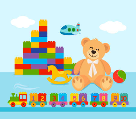 A large set of toys for toddlers. constructor, ball, teddy bear, train with numbers from 1 to 10. vector illustration on a light background