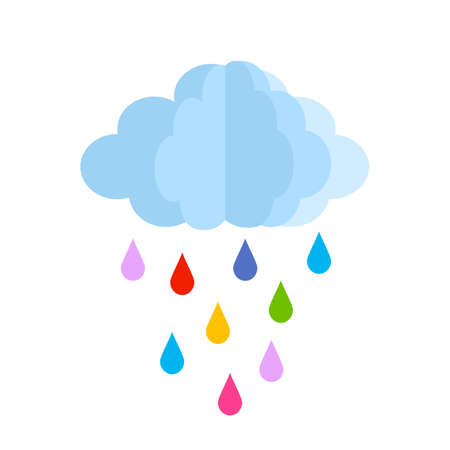 cute baby cloud with colored rain drops. vector illustration isolated on white background Ilustrace