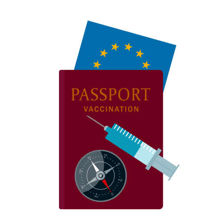 the concept of international immunization against covid-19. vaccination passport for travel and travel around the world. vector illustration isolated on white background Illustration