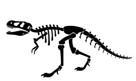 Illustration of a black silhouette of a T rex dinosaur skeleton. Bones of prehistoric creatures isolated on white background. tyrannosaurus clipart. vector illustration Illustration