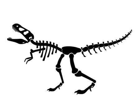 Illustration of a black silhouette of a T rex dinosaur skeleton. Bones of prehistoric creatures isolated on white background. tyrannosaurus clipart. vector illustration Ilustrace