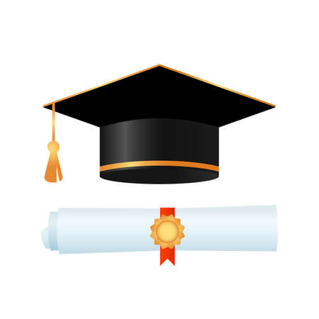 graduate cap and diploma with red ribbon isolated on white background. icon. vector illustration Illustration