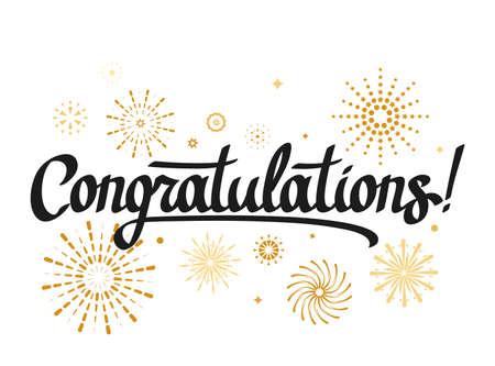 beautiful handwritten greeting lettering Congratulations on decoration, fireworks. vector illustration