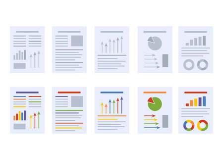 a set of documents with various reports, graphs and diagrams. vector illustration isolated on white background