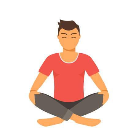 the young man is engaged in yoga and meditation. physical and mental health concept. vector illustration isolated on white background Illusztráció