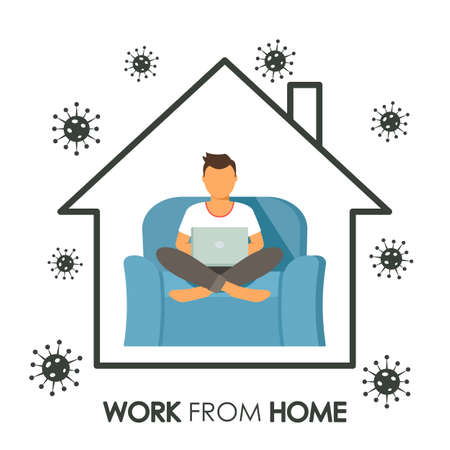 Sketchy house inside A man works at a computer online with an inscription Work from home. concept of quarantine during covid 19 and self-employment. business online. vector illustration