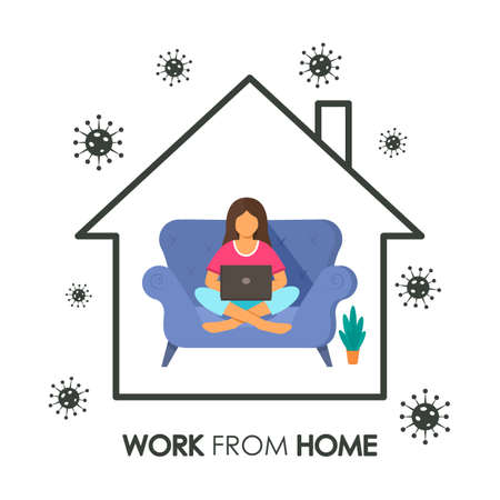 Sketchy house inside A woman works at a computer online with an inscription Work from home. concept of quarantine during covid 19 and self-employment. business online. vector illustration