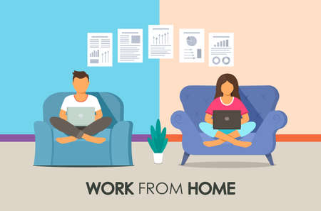 A man and a girl work for laptops online with the inscription Work from home. file transfer.  quarantine concept and self-employment. online business. vector illustration 向量圖像
