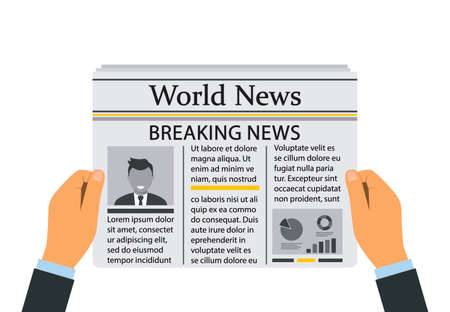 man's hands are holding a newspaper with daily breaking news. vector illustration isolated on white background