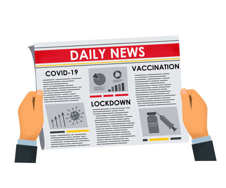 man's hands holding newspaper with daily breaking news about covid-19. Articles on vaccination, lockdown and pandemic. vector illustration isolated on white background