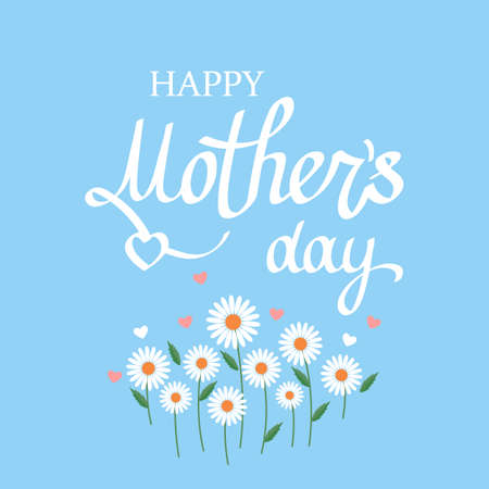 mother's day greeting card. greeting inscription and wildflowers on a blue background. vector illustration