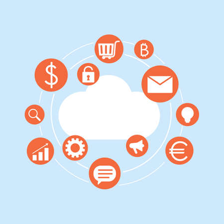 internet cloud with various icons of modern technologies. business, trade, mail, basket, bitcoin, growth chart, search. vector illustration isolated on white background Illusztráció