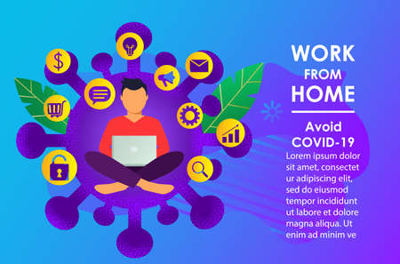 Distance learning or work online due to the pandemic. Quarantine concept . Work at home. Stay at home. vector illustration