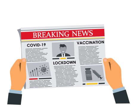 man's hands holding newspaper with daily breaking news . Articles on vaccination, lockdown and pandemic. vector illustration isolated on white background
