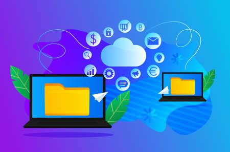 Transfer of files with information from one computer to another using the Internet cloud. A program for remote access to information on a hard disk. vector illustration