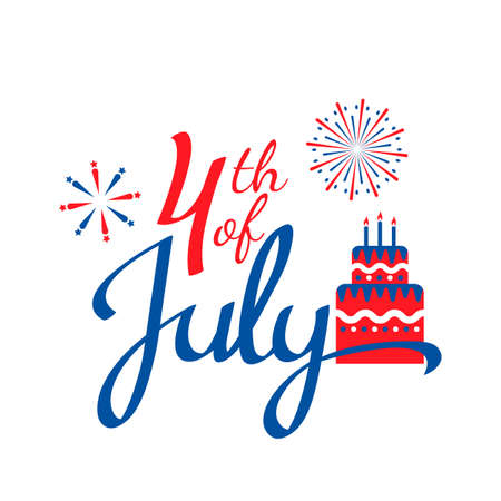 Happy 4th of July USA Independence Day greeting card. holiday banner with greeting lettering, fireworks, birthday cake. vector illustration