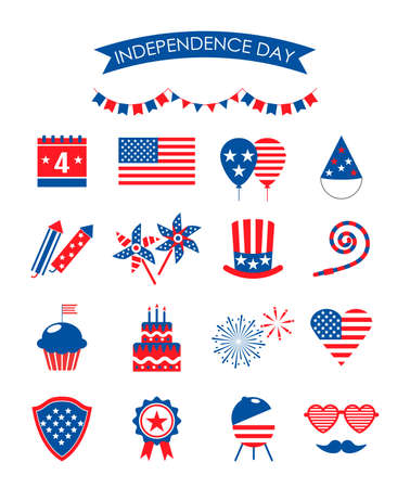 4th of July USA Independence Day. set of holiday icons with American flag, cake, barbecue, balloons, fireworks, holiday pipe, cupcake. vector illustration isolated on white background