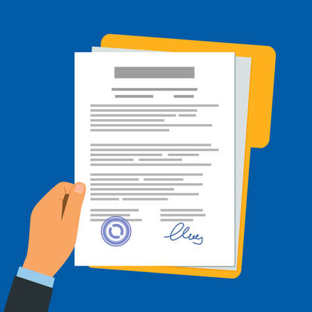 businessman holds paper documents of the contract in his hands. flat vector illustration. icon