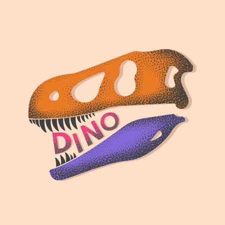 stylish skull of a prehistoric dinosaur. vector illustration isolated on white background 向量圖像