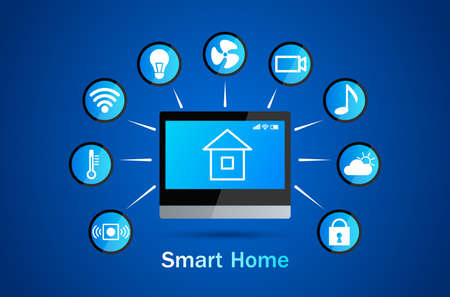 Smart home control panel. Application icons. climate control, alarm, music, security, video surveillance, electricity, internet wifi. vector illustration Illusztráció