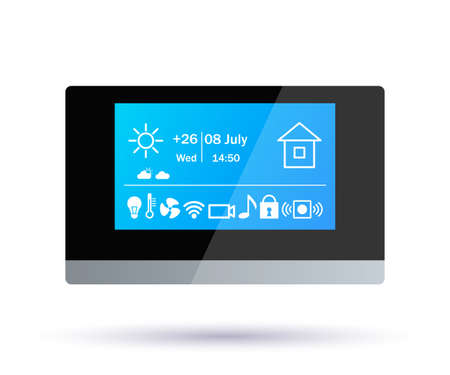 Smart home control panel. Application icons. climate control, alarm, music, security, video surveillance, electricity, internet wifi vector illustration Illusztráció