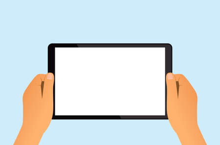 man holds a tablet in his hands. blank screen with place for your text. vector illustration isolated Illusztráció