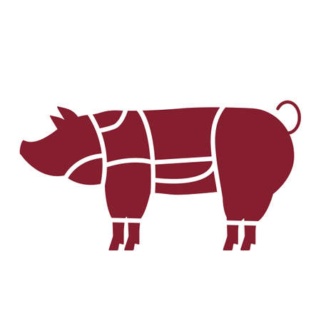 butchering a pig at a slaughterhouse. icon in flat style. vector illustration isolated on white background Illusztráció