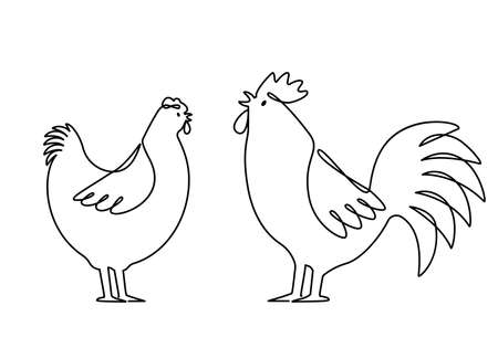 Set of domestic birds from the farm. Rooster, hen are drawn with one continuous line. template for the poultry farm. vector linear illustration isolated on white background Illusztráció