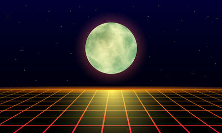 yellow moon and lunar trail on a landscape laser grid in space. Futuristic fantastic background in 80s style. 3d vector illustration Illusztráció