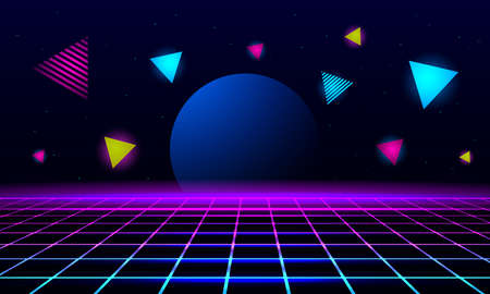 planet and geometric triangles on the background of the landscape laser grid in space. Futuristic fantastic background in 80s style. 3d vector illustration 向量圖像