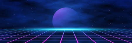 planet and geometric triangles on the background of the landscape laser grid in space. Futuristic fantastic background in 80s style. 3d vector illustration Illusztráció