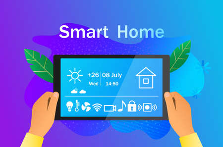 man holds a tablet control panel of a smart home in his hands. modern technology concept, vector illustration