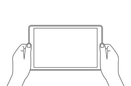 man holding a tablet in his hands. blank screen with place for text. vector illustration isolated in linear style 向量圖像