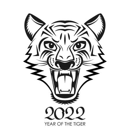 Angry tiger face with open mouth. 2022 tiger face geometric symbol. Chinese New Year concept for the signs of the zodiac. vector illustration isolated on white background in asian style