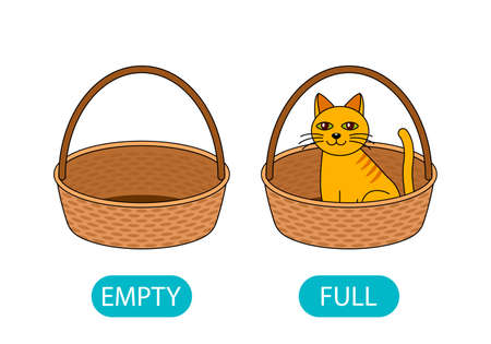 empty and full basket with a cat. the concept of teaching children the opposite adjective. vector illustration isolated on white background Vecteurs