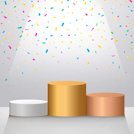 podium of winners. gold, silver and bronze medal with falling candy. vector illustration