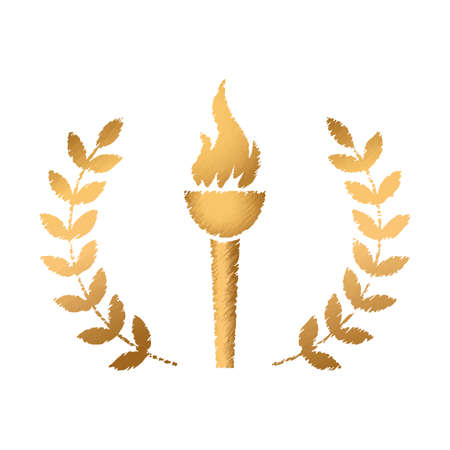 pennant with fire in a laurel wreath. vector illustration isolated on white background Ilustracja