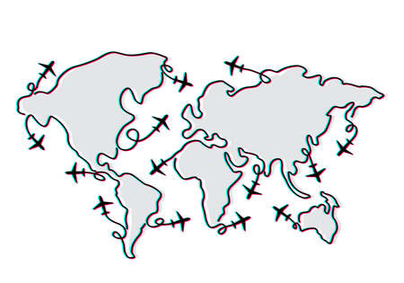 abstract world map drawn by one line with an airplane. vacation and travel concept. vector illustration isolated on white background