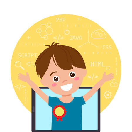 teenage boy rejoices at the victory in teaching IT programming. children's education diploma. vector illustration isolated on white background