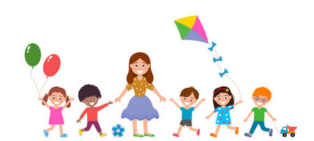 Cheerful boys and girls with a teacher and toys in a kindergarten. the concept of baby preschool education and leisure. vector illustration isolated on white background Ilustracja