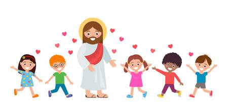 joyful children follow Jesus Christ. the concept of Sunday school and religious education. vector illustration isolated on white background Ilustracja
