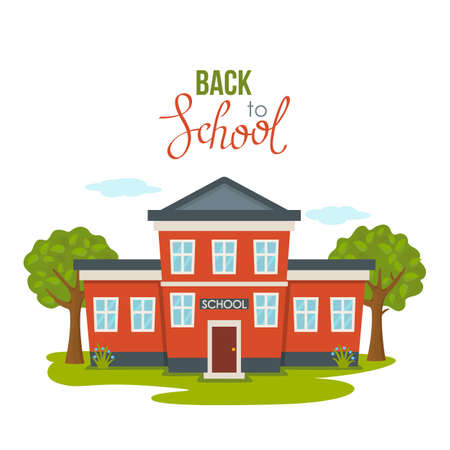 greeting card with September 1 and hand lettering Back to school. Red school building against the background of trees and trees. icon. vector illustration isolated on white background