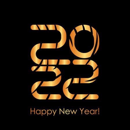 holiday greeting card happy new year 2022. striped numbers in the year of the tiger. golden vector illustration