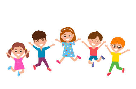 funny and happy kids with smiles jumping high and playing. concept of happy childhood and children's day. vector illustration isolated on white background