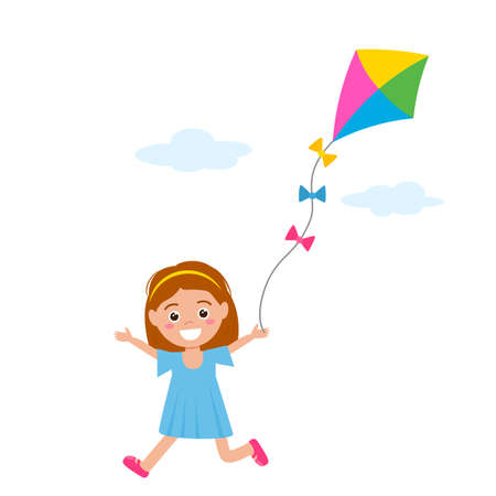 Happy little girl in a dress runs and plays with a kite. vector illustration isolated on white background