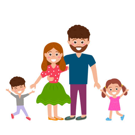 Happy family together. Husband, wife, son and daughter enjoy life. vector illustration isolated on white background Ilustracja